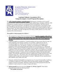 (APA) Young Investigator Award Program Description - Academic ...