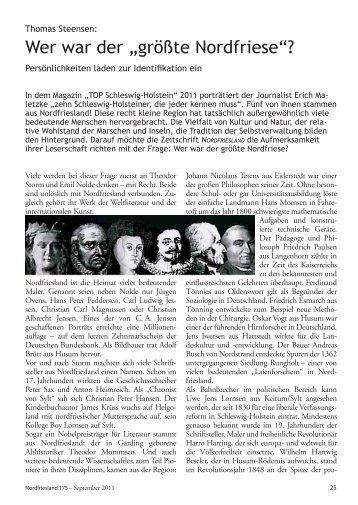 """Wer war der """"größte Nordfriese""""? - Nordfriisk Instituut"""