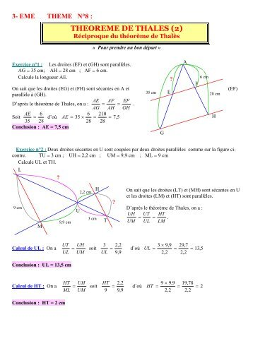 3- eme theme n°8 : theoreme de thales (2)