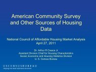 American Community Survey and Other Sources of Housing Data