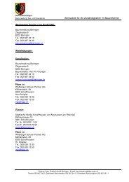 Adressliste für Zuständigkeiten im Bauverfahren - Gemeinde Beringen