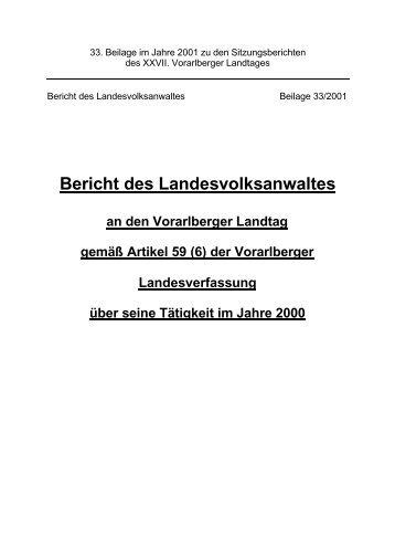 Tätigkeitsbericht 2000 - Landesvolksanwaeltin von Vorarlberg
