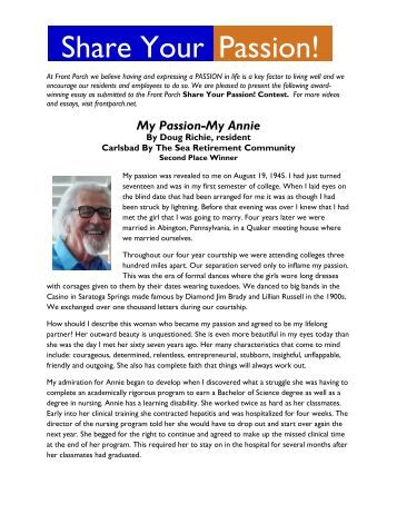 recycling poster and essay contest awardsshare your passion  contest award winning essay       front porch