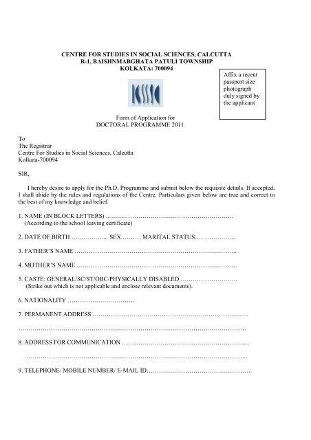 DRAFT_Applicatin form - Centre for Studies in Social Sciences ...