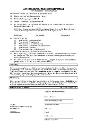 Anmeldeformular - BDB NRW
