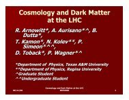 Cosmology and Dark Matter at the LHC Cosmology and Dark Matter ...