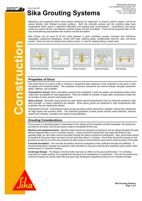 Sika GROUT SELECTION GUIDE - Waterproofing Warehouse