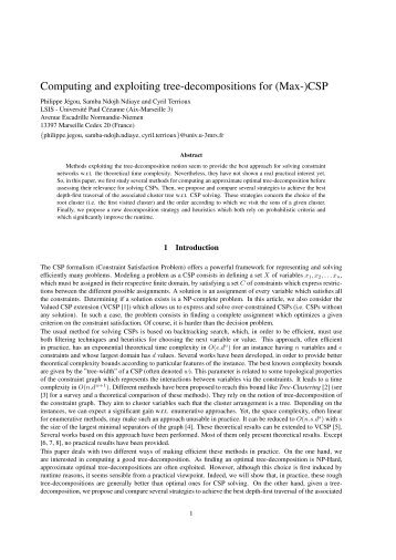 Computing and exploiting tree-decompositions for ... - LIRIS - CNRS