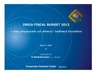 INDIA FISCAL BUDGET 2013 - Corporate Catalyst India
