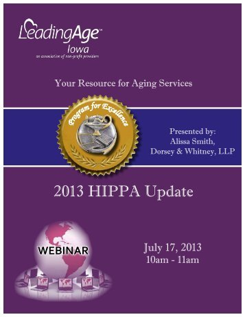 2013 HIPPA Update - Iowa Association of Homes & Services for the ...