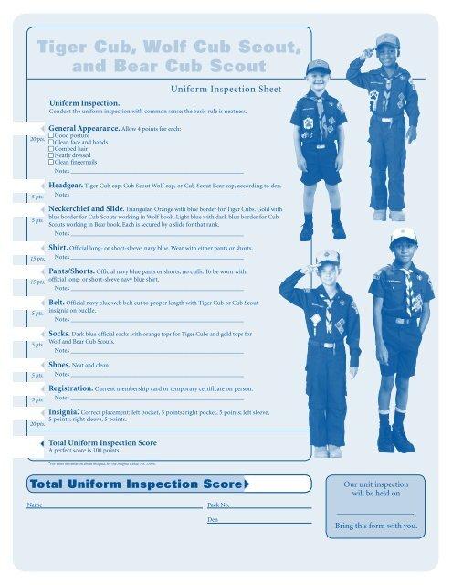 Cub Scout Uniform Inspection Guide 254 - SMDScouts