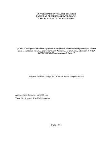 Informe Final del Trabajo de Titulación de Psicóloga Industrial