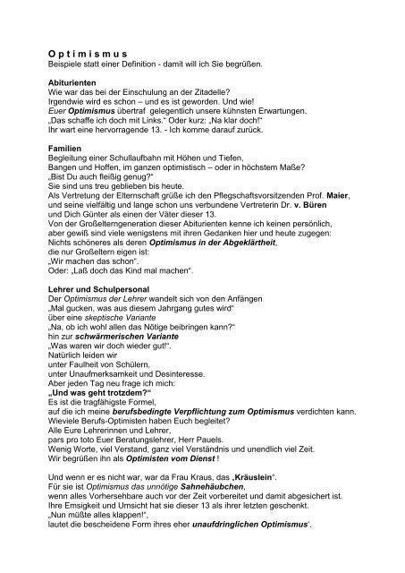 Abiturfeier-Begrüßungsansprache 1999 - p-j-r.de