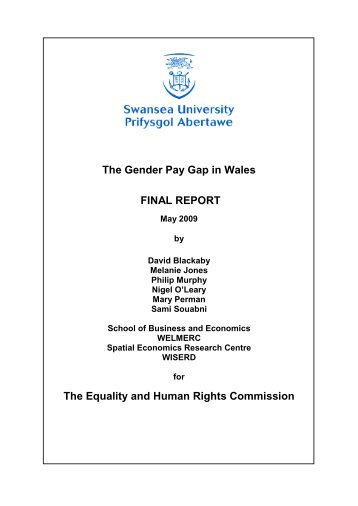 The Gender Pay Gap in Wales: Evidence from ASHE/NES - WISERD