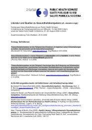 Gesundheitskompetenz Literatur - Public Health Schweiz