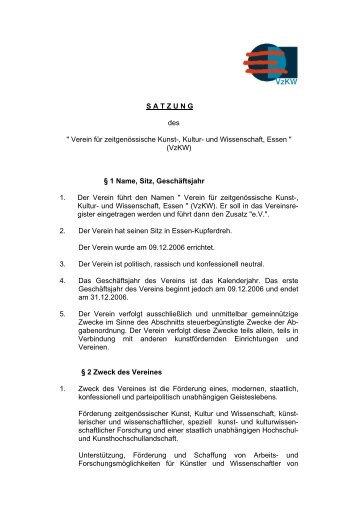 """S A T Z U N G des """" Verein für zeitgenössische Kunst ... - vzkw.de"""