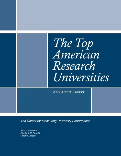 The Top American Research Universities--2007 - Jvlone.com