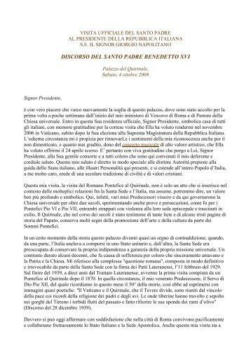 Discorso di Sua Santità Benedetto XVI in occasione della visita ...