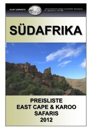 PREISLISTE EAST CAPE & KAROO SAFARIS 2012 - Hunt Experts