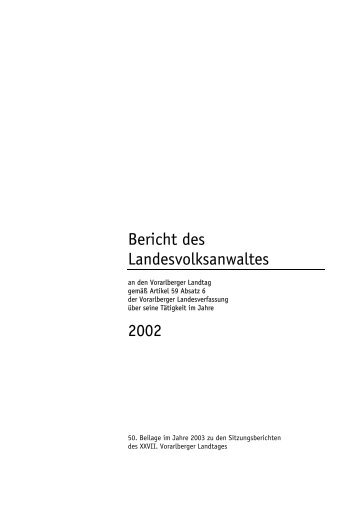 Tätigkeitsbericht 2002 - Landesvolksanwaeltin von Vorarlberg