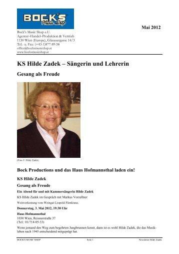 KS Hilde Zadek – Sängerin und Lehrerin - Bock's Music Shop