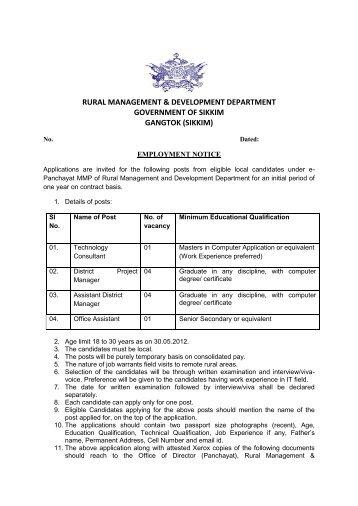 Employment Notice PMU - rdsikkim.org