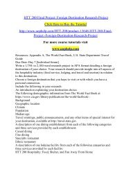 HTT 200 Final Project  Foreign Destination Research Project /Uophelp