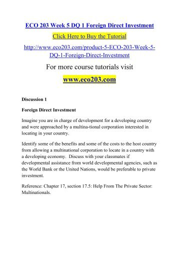 ECO 203 Week 5 DQ 1 Foreign Direct Investment