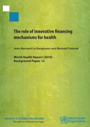 The role of innovative financing mechanisms for Health