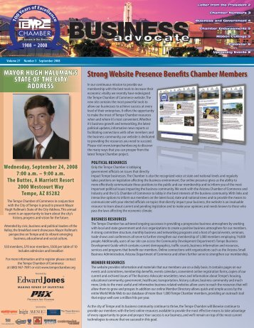 The Business Advocate September 2008 - Tempe Chamber of ...