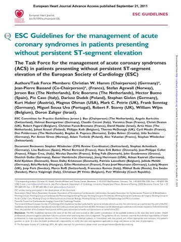 ESC Guidelines for the management of acute coronary syndromes ...
