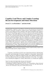 Cognitive Load Theory and Complex Learning ... - Anitacrawley.net