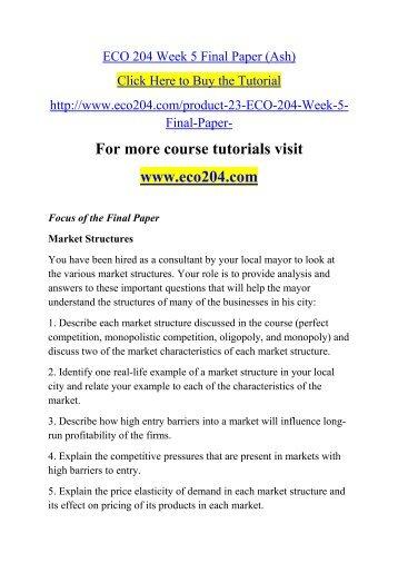 ECO 204 Week 5 Final Paper (Ash)