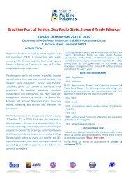 Brazilian Port of Santos, Sao Paulo State, Inward Trade Mission