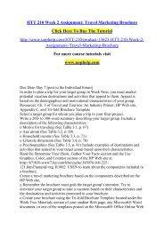 HTT 210 Week 2 Assignment Travel Marketing Brochure /Uophelp