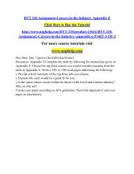 HTT 210 Assignment Careers in the Industry Appendix E /Uophelp