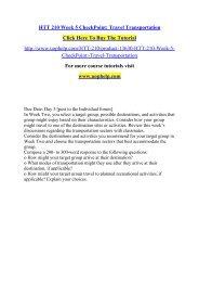 HTT 210 Week 5 CheckPoint Travel Transportation /Uophelp