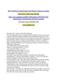 HTT 210 Week 9 Final Project The Plan for a Dream Vacation /Uophelp