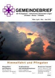 Ausgabe Mai/Juni 2012 - auf der Startseite der Kreuzkirche Lingen