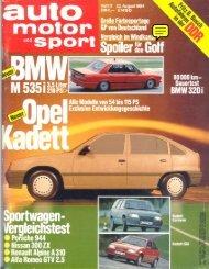 Auto Motor und Sport (D), 1984 - GTV6 et 156 GTA