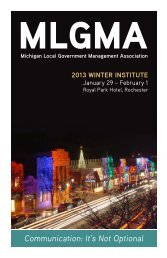 Winter 2013 - Michigan Local Government Management Association