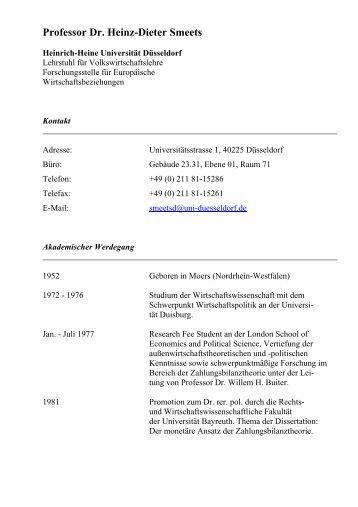 ausfhrlicher lebenslauf prof dr heinz dieter smeets heinrich - Heinrich Heine Lebenslauf