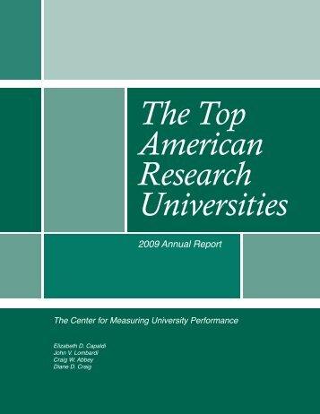 The Top American Research Universities--2009 - Jvlone.com