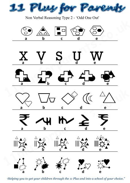 Non Verbal Reasoning Type 2 worksheet - Guide for the 11 Plus