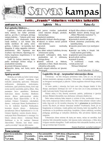 """Antrasis """"Savo kampo"""" numeris - Telšių """"Kranto"""" pagrindinė mokykla"""