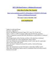 HTT 220 Final Project A Balanced Scorecard /Uophelp