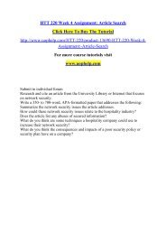 HTT 220 Week 4 Assignment Article Search /Uophelp