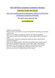 HTT 220 Week 6 Assignment Competitive Advantage /Uophelp