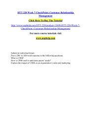 HTT 220 Week 7 CheckPoint Customer Relationship Management /Uophelp