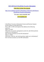 HTT 220 Week 8 CheckPoint Executive Information /Uophelp